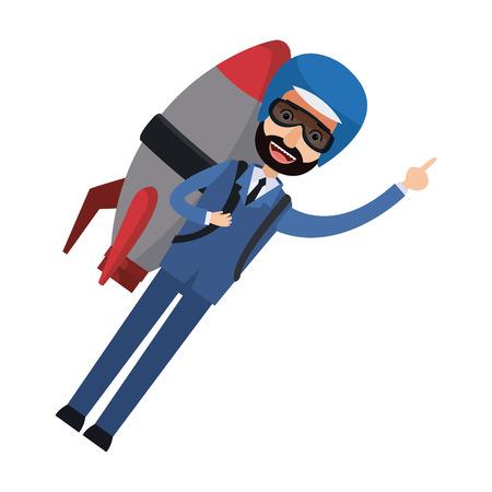 businessman flying with jetpack startup vector illustration