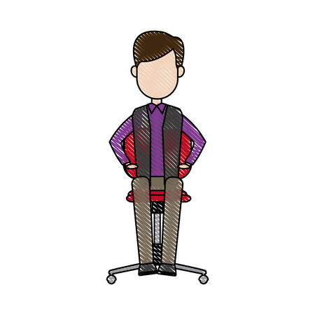 young businessman sitting calmly on a chair vector illustration