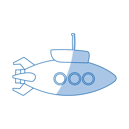 submarine with periscope bathyscaphe cartoon vector illustration Illustration