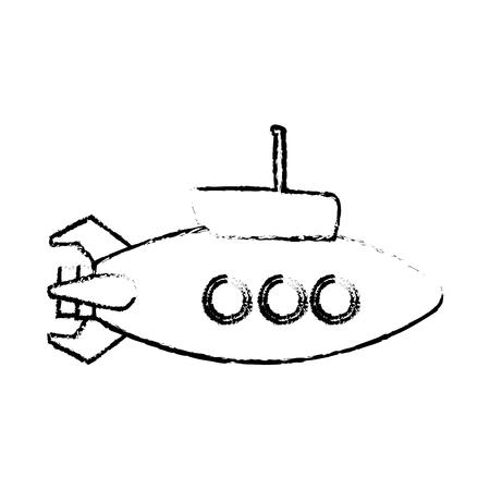 periscope: A submarine with periscope bathyscaphe cartoon vector illustration Illustration