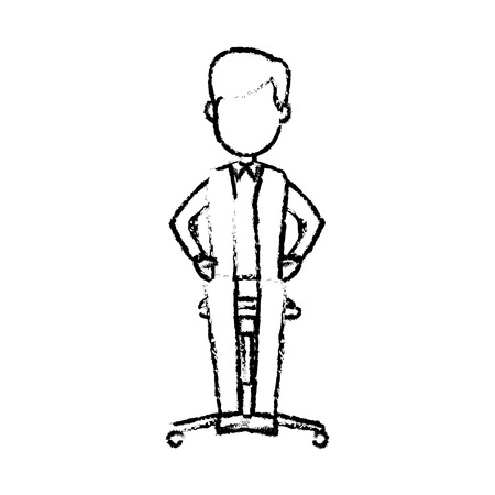 A young businessman sitting calmly on a chair vector illustration