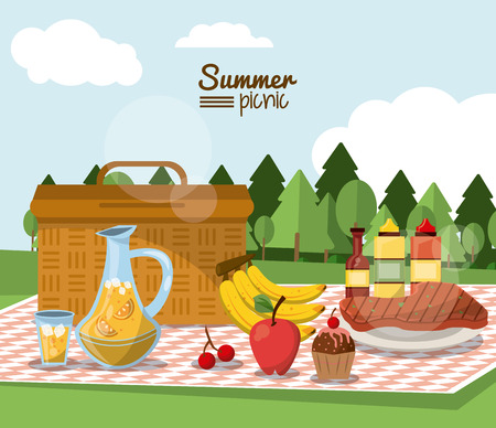 colorful poster of summer picnic with outdoor landscape and picnic basket in tablecloth with juice jar and fruits and sauces and meat vector illustration Illustration