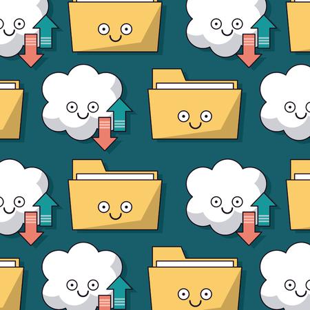폴더와 구름 서비스 저장소 애니메이션 벡터 일러스트 레이 션의 패턴과 화려한 배경 일러스트
