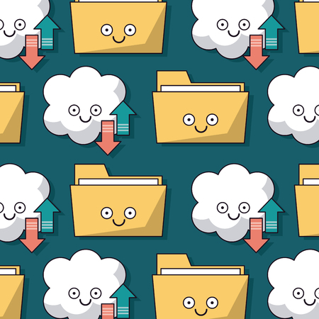 colorful background with pattern of folders and cloud service storage animated vector illustration
