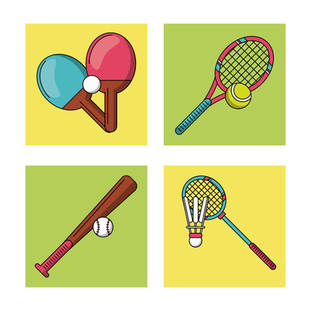 white background with colorful set of frames with sports rackets and baseball bat vector illustration Illustration