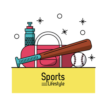 colorful poster of sports lifestyle with baseball elements vector illustration
