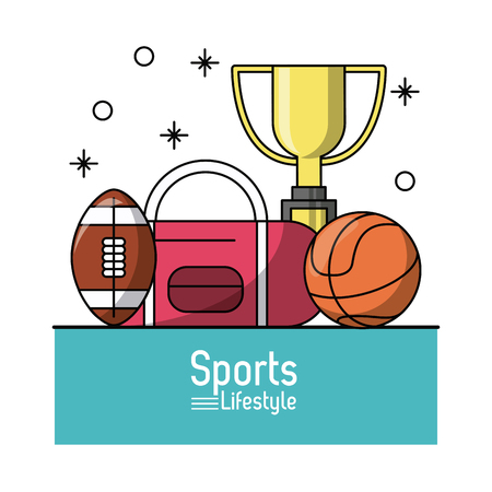 dribbling: colorful poster of sports lifestyle with trophy and balls of football and basketball vector illustration