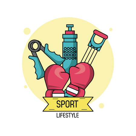 colorful poster of sport lifestyle of boxing vector illustration Illustration