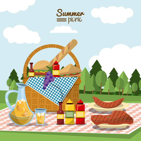 colorful poster of summer picnic with outdoor landscape and picnic basket full of food in tablecloth with juice jar and sausage and meat to grill vector illustration