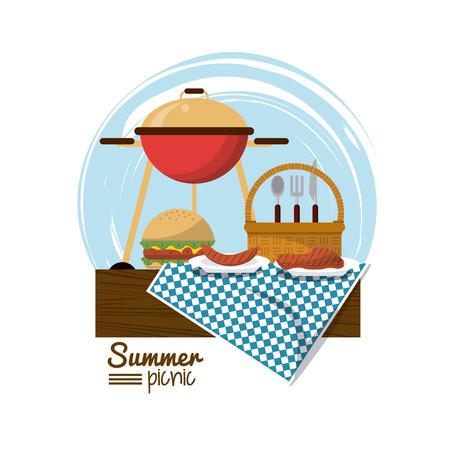 炭火焼きとハンバーガーとピクニック バスケット テーブル クロス ベクトル図の上のカラフルなロゴ サマー ピクニック