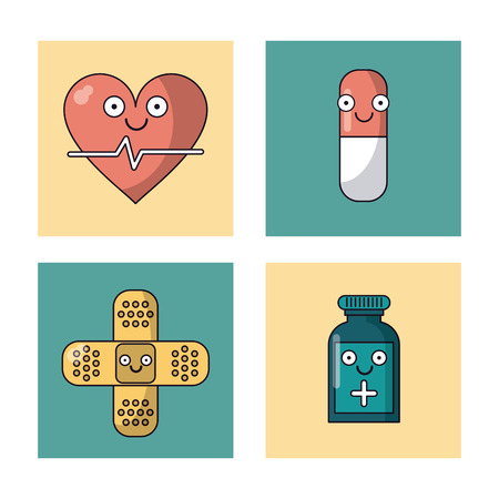 white background with set of frames with heart pulse and pill and plaster and medicine bottle vector illustration