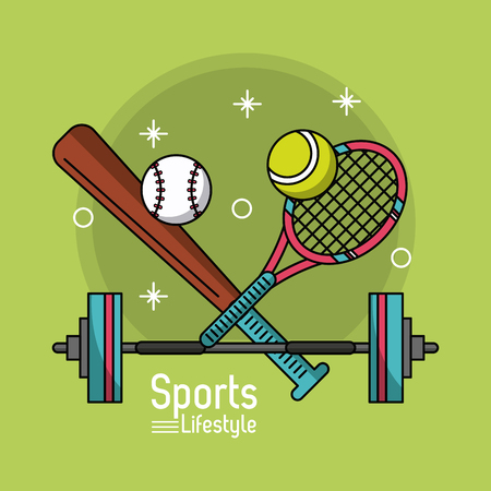 colorful poster of sports lifestyle with baseball bat and tennis racket and dumbbell vector illustration