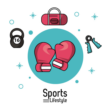 colorful poster of sports lifestyle with boxing gloves and boxing icons vector illustration Illustration