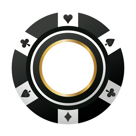 poker chip casino game black icon vector illustration