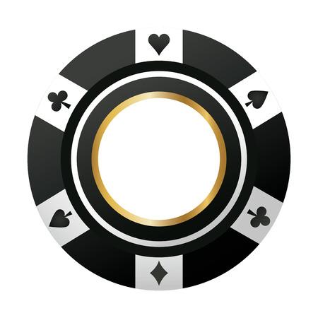 casino chip de póquer icono de juego negro ilustración vectorial