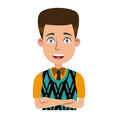 folded arms: Businessman profile male portrait man character vector illustration