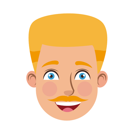 Man cartoon face male facial expression vector illustration