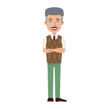 비즈니스 남자 만화 캐릭터 젊은 남성 전문 벡터 일러스트 레이션
