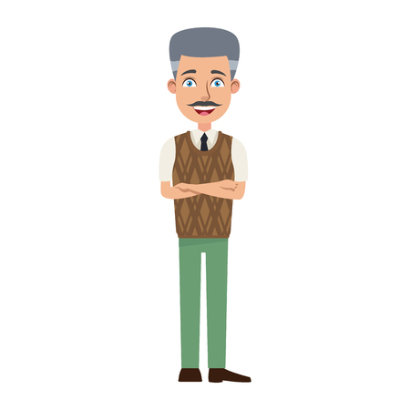 business man cartoon character young male professional vector illustration Çizim