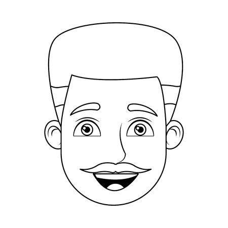 symbolics: cartoon man avatar profile picture male character head vector illustration