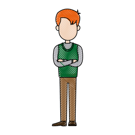 arms folded: drawing cartoon man standing character male vector illustration
