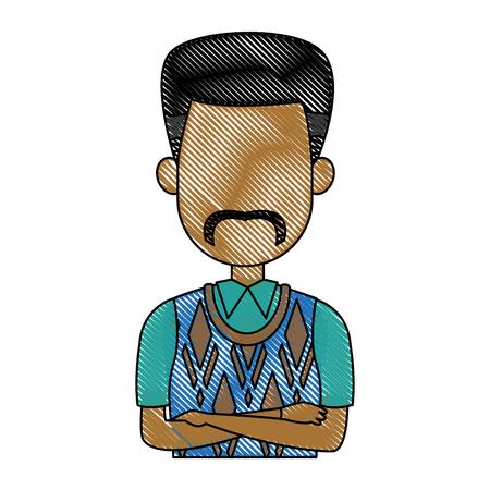 arms folded: Business man icon portrait employee or entrepreneur person vector illustration Illustration