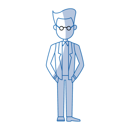 executive assistants: business man cartoon character male professional standing vector illustration