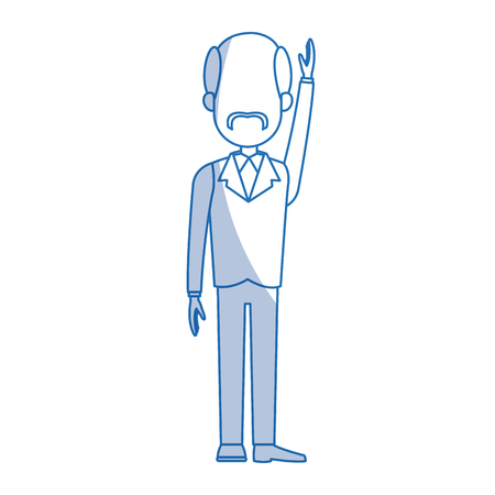 determined: business man cartoon character male professional standing vector illustration