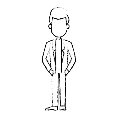 pondering: business man cartoon character male professional standing vector illustration