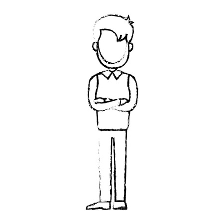 Business man cartoon character male professional standing vector illustration