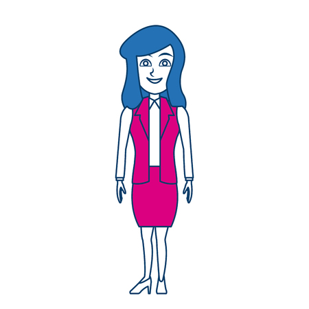 cartoon woman standing business employee character vector illustration