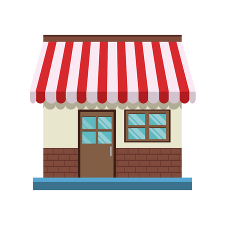 Store front door facade shop vector illustration.