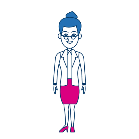 suit skirt: cartoon woman standing business employee character vector illustration
