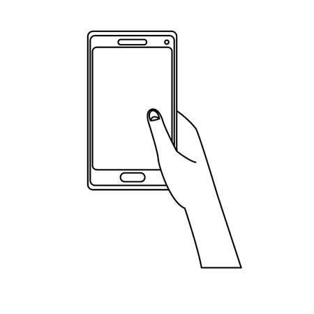 smartphone apps: Hand holding smartphone application digital vector illustration