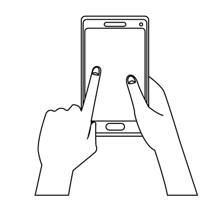 holing: hand holing smartphone touching screen vector illustration