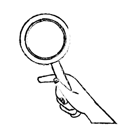 verify: Hand holding magnifier handle search vector illustration