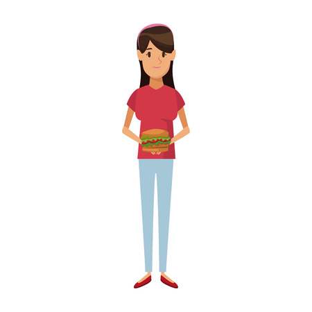 Woman holding burger unhealthy nutrition food vector illustration.