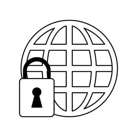 protected database: Web protection padlock icon vector illustration design graphic silhouette Illustration