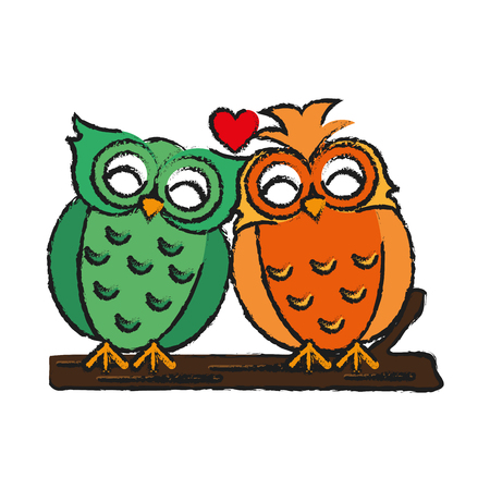 Lovebirds romantic valentines day icon image vector illustration design  sketch style Illustration