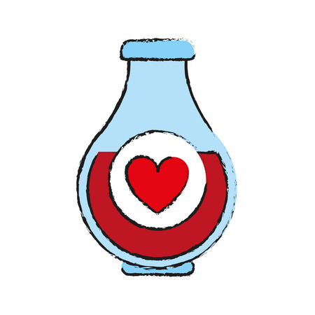 Heart labeled flask or potion love valentines day related icon image vector illustration design  sketch style