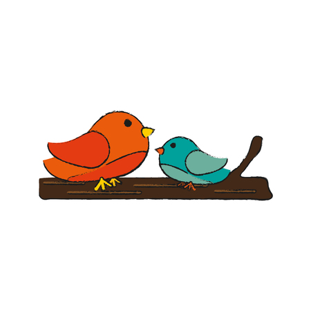 Two birds icon image vector illustration design  sketch style