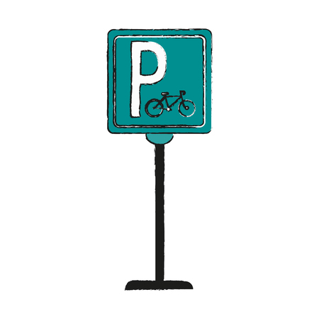 Bike or bicycle parking sign icon image vector illustration design  sketch style