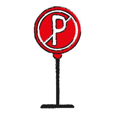illegal zone: No park zone parking sign icon image vector illustration design  sketch style