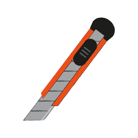 coworker: blade cutter office supplies related icon image vector illustration design  sketch style