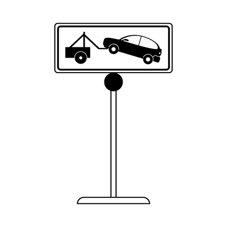 illegal zone: car towing no park zone parking sign icon image vector illustration design  black line Illustration