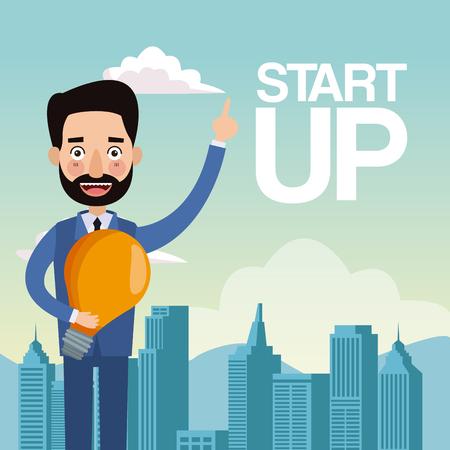 city landscape background closeup businessman with light bulb star up vector illustration Illustration