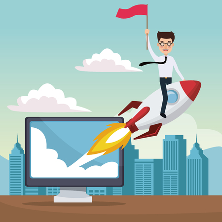 city landscape background star up business man on a rocket with display computer vector illustration