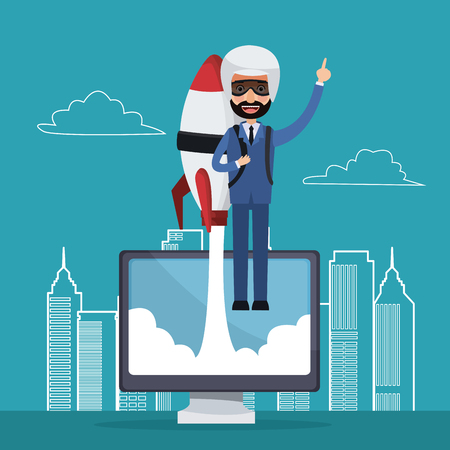 metropolitan: blue color background with city landscape silhouette star up business man flying in rocket on display computer vector illustration