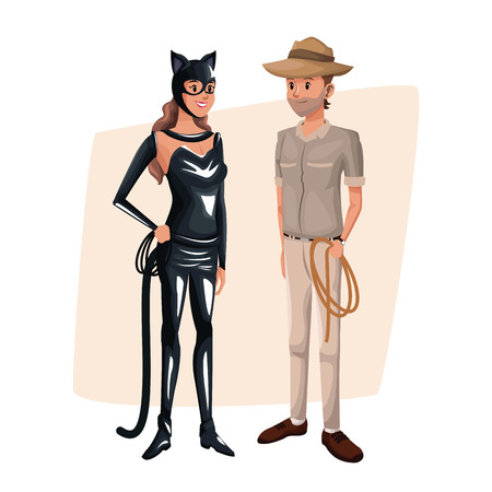 bodice: poster with couple cat woman and explorer man costume halloween vector illustration