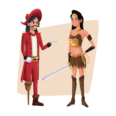 mujer pirata: poster with couple pirate man and indian warrior costume halloween vector illustration Vectores